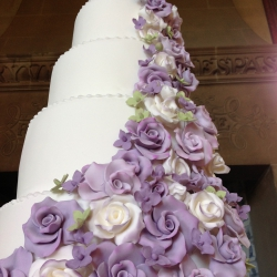 Five tier cake, purple, white, flowers, wedding cake