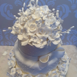 two tier cake, detail, white, bow , wedding cake