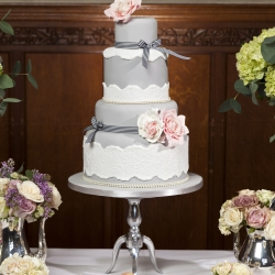 Three tier cake, grey, lace, flowers, wedding cake