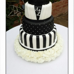 black and white, stripes, wedding cake