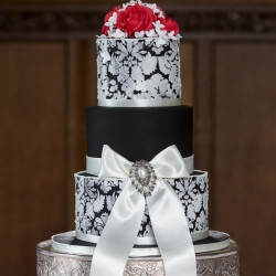 Three tier cake, black and white, damask, bow, wedding cake, silver ribbon,