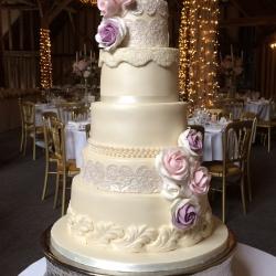 wedding cake, detail, roses, detail, lace