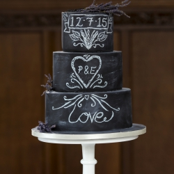 Three tier cake, chalk board, love, wedding cake