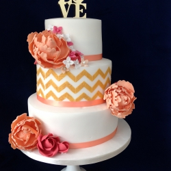 Three tier cake, chevrons, peaches, peonies, ribbon, love, wedding cake, peach wedding cake,
