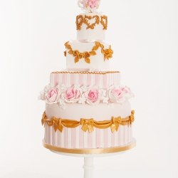wedding cake, bows, detail, stripes, flowers, tiers