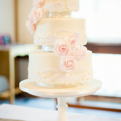 Three tier cake, floating tiers, pastel pink, wedding cake