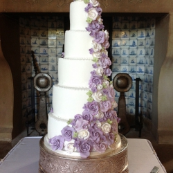 Five tier cake, lilac, floral, avalanche, wedding cake