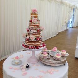 Four tier cake, naked cake, petals, pastel pink
