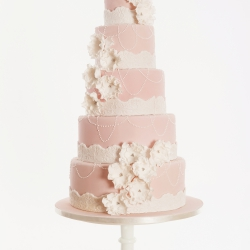 Five tier cake, pearls, frills, wedding cake, detail, cake detail, pastel pink