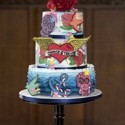Three tier cake, rockabilly, colourful