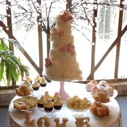 Ruffles, wedding cake, pink and white