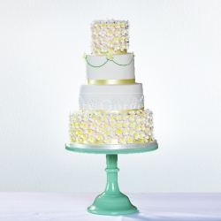 Five tier cake, white, gold, wedding cake