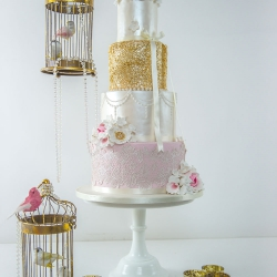 Four tier cake, bird cages, wedding cake