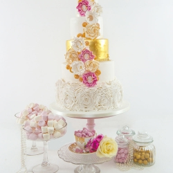 Five tier cake, flowers, gold, wedding cake