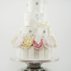 Four tier cake, globe, wedding cake, sugar flowers