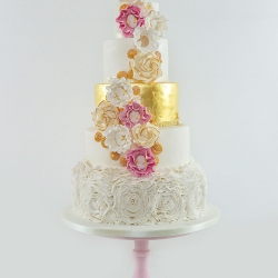 Five tier cake, flowers, gold, pink cake stand, wedding cake
