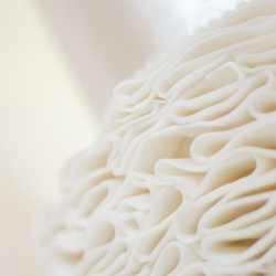 Ribbon detail, ruffle tier, wedding cake, detail