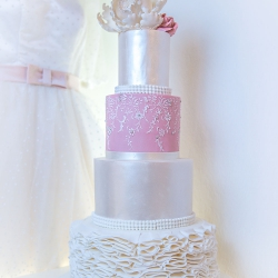 Four tier cake, ribbon, silver, pink, wedding cake