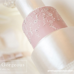 Pink and silver detail, wedding cake