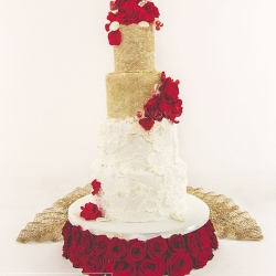 Four tier cake, roses, red, gold, wedding cake