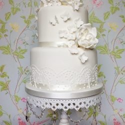 Two tier cake, ivory, delicate butterflies, roses, wedding cake