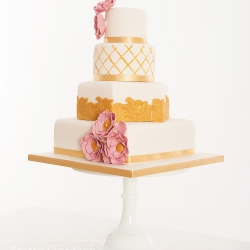 Four tier cake, flowers, detail, wedding cake