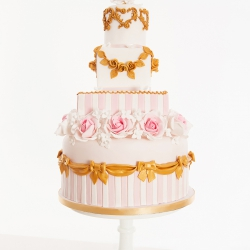 Five tier cake, stripes, pink, white, bows, wedding cake