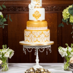 Four tier cake, gold damask, detailing, wedding cake