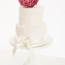Two tier cake, peony, lace, ribbon, wedding cake