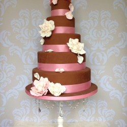 Five tier cake, ribbon, red and pink, flowers, wedding cake, chocolate wedding cake