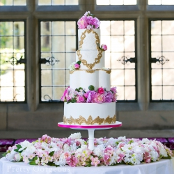 Four tier cake, Gold, peonies, wedding cake