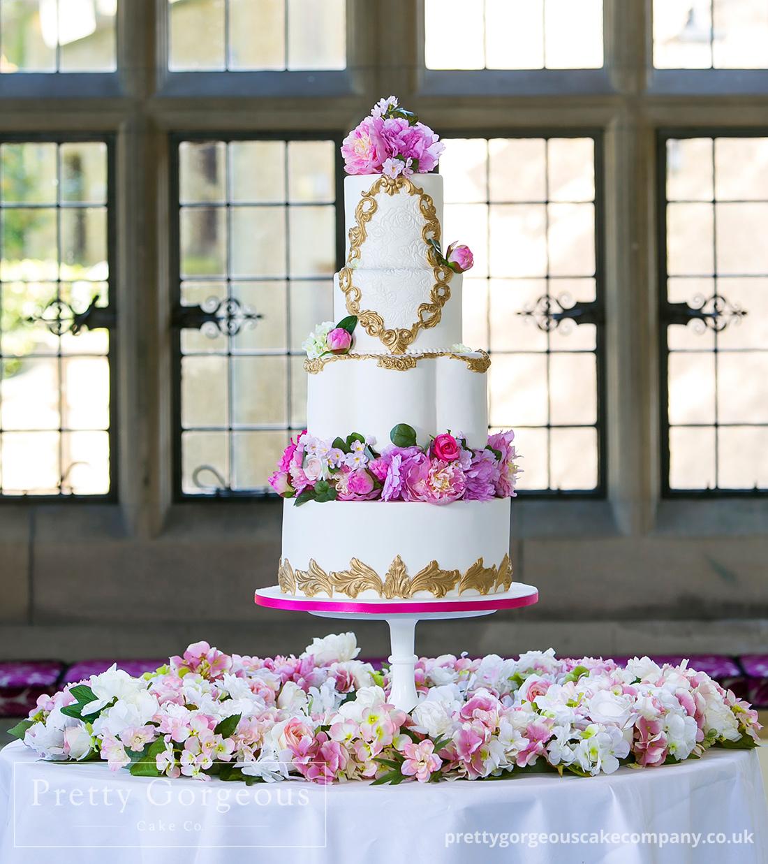 Four tier cake, Gold, peonies, wedding cake