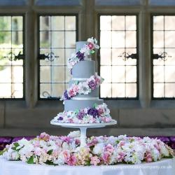 Four tier cake, Grey, sugar flowers, spiral wrap cake, floral, spiral, wedding cake
