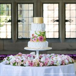 Four tier cake, pearls, handpainted, wedding cake, painted cake, ruffles cake, frills cake, gold lustre cake,
