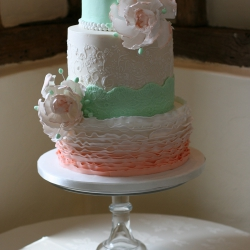 Three tier cake, mint, peach, wedding cake