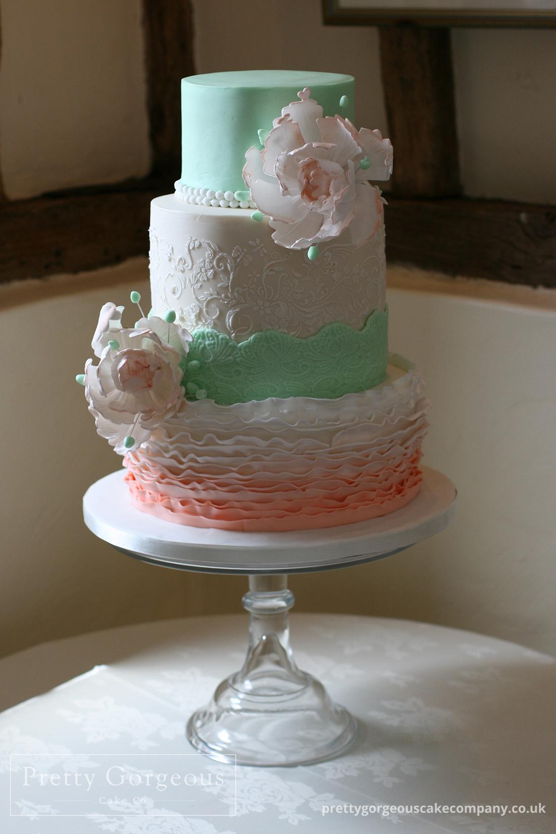Three tier cake, mint, peach, wedding cake