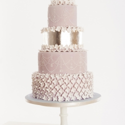 Five 5 tier cake, silver leaf, wedding cake