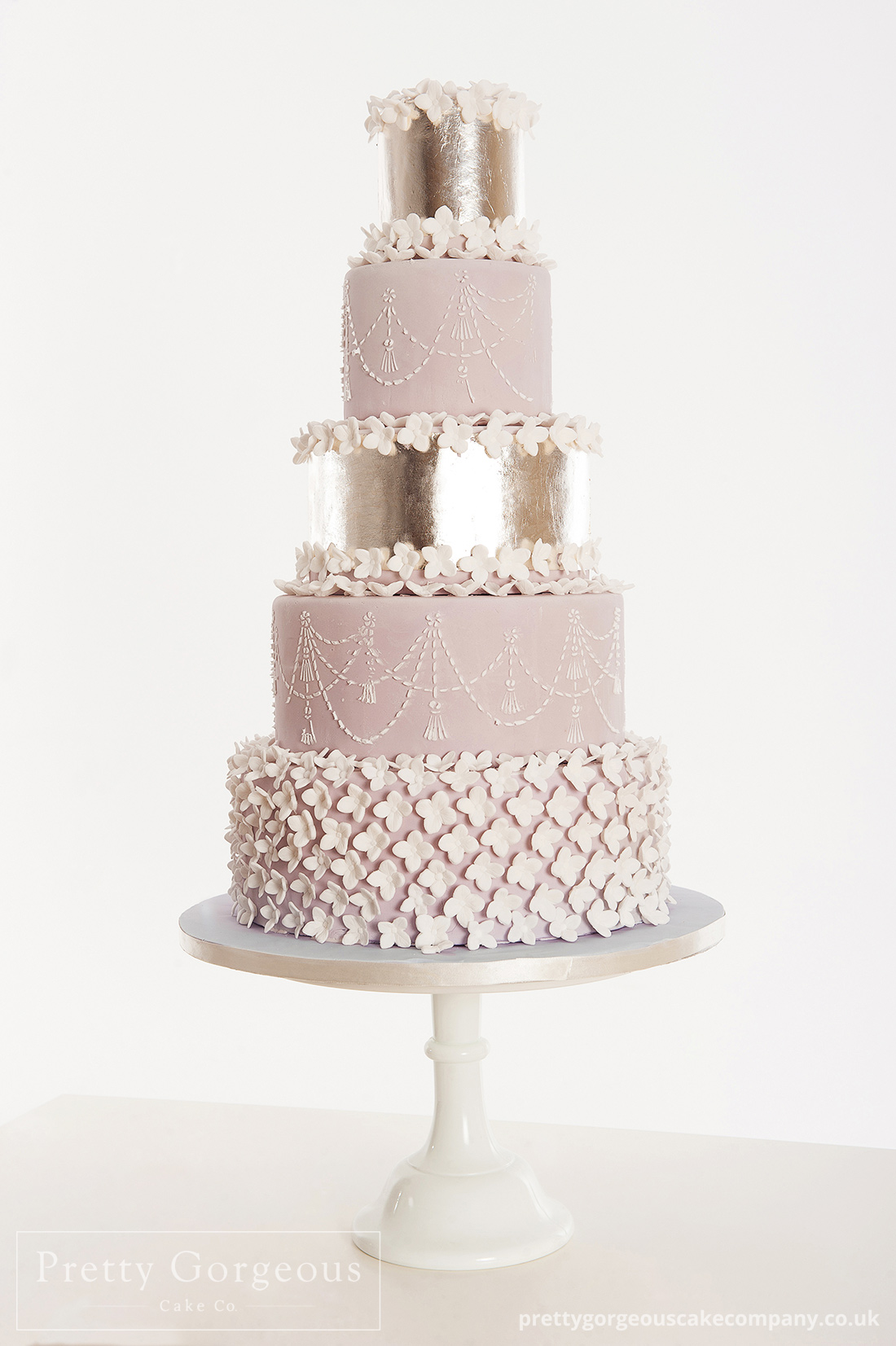 Five 5 tier cake, silver leaf, wedding cake