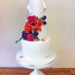 Three tier cake, summer brights, ribbon, wedding cake