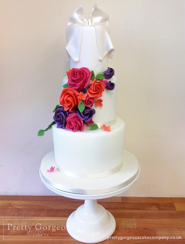 Three tier cake, summer brights, ribbon, wedding cake