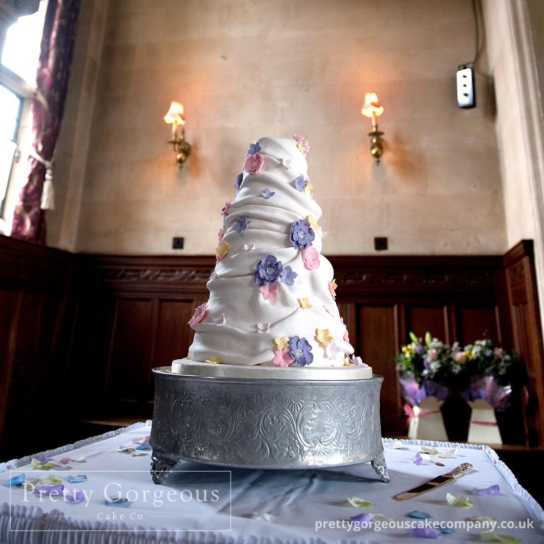 swags cake, ruffle cake, cake, wedding cake