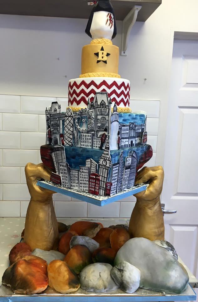 Superhero themed cake designed for BRITs